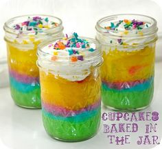 I love the cupcakes in a jar, so cute and I love how colorful these are!!