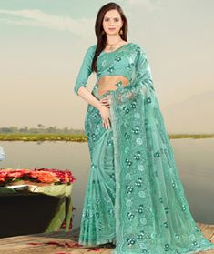 Details about  /Turquoise Net Saree Sari Indian Bollywood Pakistani Wedding Embroidery PartyWear