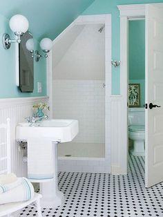 Shower, lights add sink room for makeup etc.