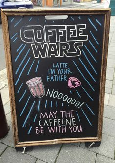 Starbucks chalk board ideas · cool cafe sign may the caffine be with you. Coffee Latte, Starbucks Coffee, My Coffee, White Coffee, Coffee Time, Coffee Menu, Starbucks Art, Coffee Barista, Coffee Poster