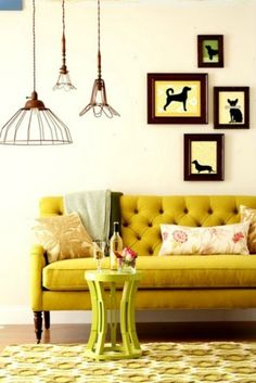 mustard yellow couch - love the couch legs and rustic lighting