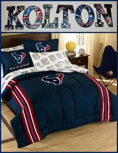 """Houston Texans  Inspired Personalize your child's room or any room 9"""" Wooden Letters with Drilled holes in the back for easy hanging. Can do any theme, They are adorable and can finish any room. Can match bedding with good pic perfect. I can even do your photo's for memories or a family one with your family photo's. They are great for shower gifts, birthday gifts or just anyday gifts. Can match any bedding theme. $9.50 per letter"""
