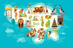 Bali map and Bali set art by Rimma_Z on Bali, Sticker Logo, Beach Illustration, Drawn Art, Indonesian Art, Digital Art Tutorial, Watercolor Ideas, Presentation Design, Creative Photography