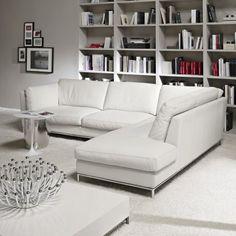 Day Italian Modern Leather Corner Sofa
