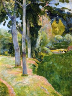by Paul Gauguin in oil on canvas, done in . Now in a private collection. Find a fine art print of this Paul Gauguin painting. Paul Gauguin, Henri Matisse, Landscape Art, Landscape Paintings, Green Landscape, Landscapes, Art Amour, Impressionist Artists, Ouvrages D'art
