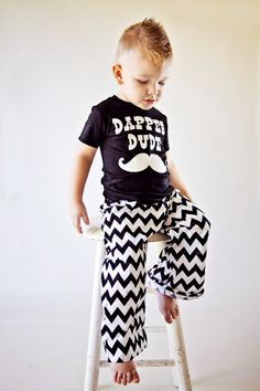 I love the shirt... Dapper+Dude++Boy's+Black+White+Chevron+Pant+Set+by+birthdaycouture,+$45.00