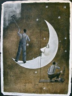 """octoberillustrations: """"The Painters""""This is the 3rd companion piece to """"The Astronomer"""" in an ongoing series."""