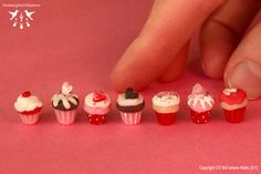 Paint base of miniature cupcake to look like cupcake paper - love the polka dots