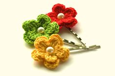 NEW Crochet Flowers Bobby Pins in  Yellow Lime and by AnnieDesign, $9.75