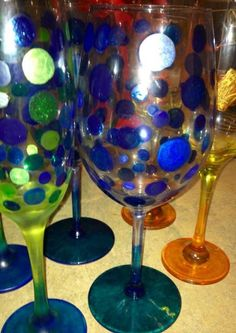 Painted spot wine glasses