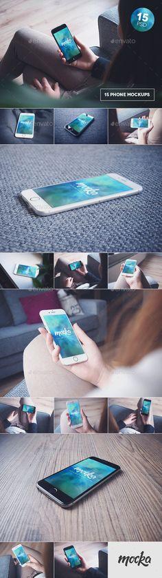 15 Phone 6 Black & White Mockups - Displays Product Mock-Ups
