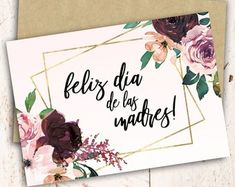 Día de la Madre. Set x 8. Tarjeta del día de la madre. Tarjeta   Etsy Make A Gift, Nice Body, Lettering, Prints, Cards, Showroom, Scrapbook, Cookies, Google