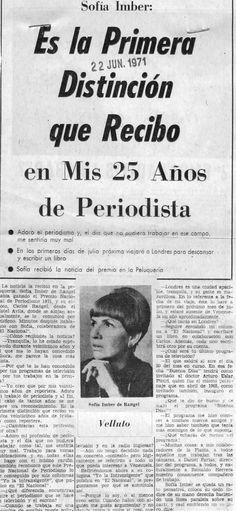Sofía Imber recibe el Premio Nacional de Periodismo. Publicado el 22 de junio de 1971.