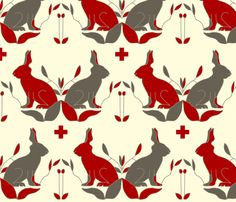 scando_rabbits fabric by holli_zollinger on Spoonflower - custom fabric
