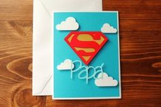 Super Papa - Spanish Father's Day Handmade Card by Corazones de Papel… Fathers Day Crafts, Happy Fathers Day, Diy And Crafts, Crafts For Kids, Paper Crafts, Painting For Kids, Art For Kids, Daddy Day, Mason Jar Gifts
