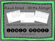 This is the first in a new series that I've created, called READ ALOUD-WRITE ALONGS!I have written higher level thinking questions aligned with the common core to go with each chapter of popular classroom read alouds. These tri-folds will help to keep your students engaged as you read to them, and are a great, quick way to encourage important writing skills every day. **************************************************Follow my store for product updates--I add new products often!Also, please…