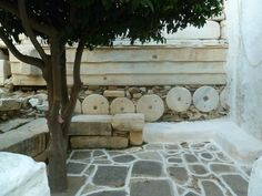 pieces of marble temple used to build a fortification wall a few centuries later on the island of Paros