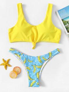Shop Random Bandeau Top With High Leg Banana Bikini Set at ROMWE, discover more fashion styles online. Bikini Swimwear, Bikini Set, Thong Bikini, Mini Bikini, Beachwear For Women, Women Swimsuits, Tops Bandeau, Banana Print, Color Block Bikini