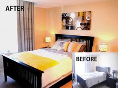 Before and after bedroom home staging