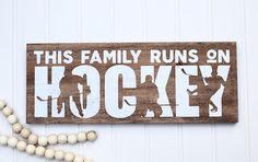 Hockey wall art Family hockey sign Hockey wall decor Wood