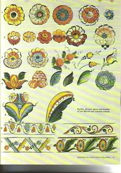 Swedish Folk Painting of DalarnaComplete HistoryHow to do Pintura Country, Tole Painting, Painting & Drawing, Painting Styles, Rosemaling Pattern, Norwegian Rosemaling, Scandinavian Folk Art, Swedish Style, Thinking Day