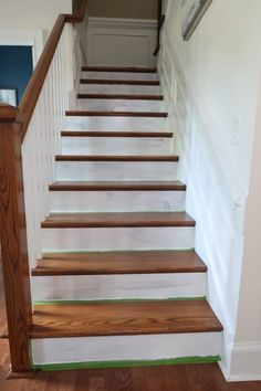 Want to makeover your stained staircase? Here's you guide prepping, choosing the right paint, and painting stained stair risers white. Stairs Painted White, White Stair Risers, Painted Stair Risers, White Staircase, Painted Staircases, Wood Staircase, Staircase Design, Wood Floor Stairs, Staining Stairs