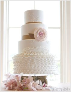 An Elegant Ruffle and Rose Wedding Cake Design by The Pastry Studio: Daytona Beach, Fl Wedding Cake Roses, White Wedding Cakes, Beautiful Wedding Cakes, Rose Wedding, Chic Wedding, Beautiful Cakes, Amazing Cakes, White Cakes, Magical Wedding