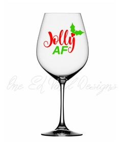 Jolly AF ... Christmas Decal, Vinyl Decal for DIY Coffee Mug, Wine Glass, Beer Mug, and More ... Glass NOT Included Christmas Decals, Vinyl Decals, Wine Glass, Coffee Mugs, Beer, Unique Jewelry, Handmade Gifts, Shop, Diy