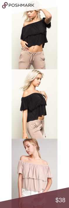 Bare It All Off-the-Shoulder Crop Top Show off those sexy shoulders this summer in the ultimate semi crop top! Features mini crochet fringe detail, super soft cotton blend fabric (feels like summer PJs!), elastic band and loose fitting bodice. (Available in Beige and Black) 60% Cotton 35% Polyester 5% Spandex. . . . If you would like to make an offer, please use the OFFER BUTTON. {10% discount on all 2+ orders} . . FOLLOW US✌🏽️ Insta 📸: shop.likenarly Facebook📱: likenarly Website 🌐…