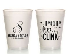 Party Cups Pop Fizz Clink Cups Pop Fizz Clink Shower Cups Frosted Wedding Cups Plastic Party Favors Frosted Cups Pop Fizz Clink 1626 by SipHipHooray