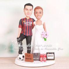Babe i found our wedding cake toppers Futbol Club Barcelona Soccer Wedding Cake Toppers