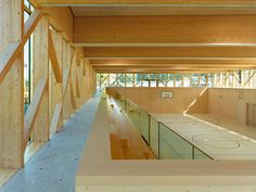School gymnasium by Butikofer de Oliveira Vernay Architectes Gymnasium Architecture, Timber Architecture, Education Architecture, School Architecture, Architecture Design, Gym Design, School Design, Home Basketball Court, Sports Court