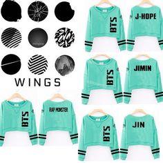 Kpop BTS Sweater Wings Mint Green Cropped Hoodie Jung Kook Suga J-Hope JIMIN V