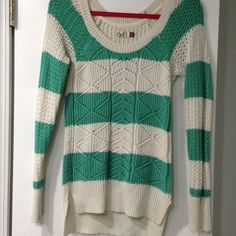 Mint and Cream Striped Sparkly Sweater Brand new! Worn only once! No pulls or snags! SO Sweaters