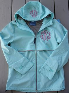 Monogrammed Rain Jacket Personalized Adult Sizes. $60.00, via Etsy... the monogram is already my initials. it's a sign.