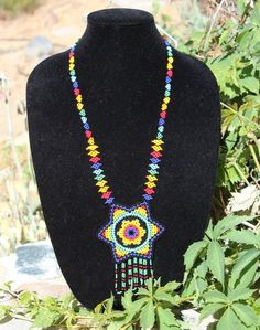 Handmade with Glass Beads- Necklace- Huichol Jewelry- Colorful- Hand Woven Jewlery- Boho- Hippie- Ethnic- Victorian Style Mexican Folk Art, Winter Sale, Bead Weaving, Victorian Fashion, Hippie Boho, Glass Beads, Jewlery, Beaded Necklace, Earrings