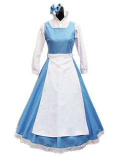 Beauty and the Beast Belle Blue Maid Dress Women's Costume Cosplay