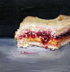 "Daily Paintworks - ""Bitten (PB&J #32 - Peanut Butter & Jelly Sandwich Painting)"" - Original Fine Art for Sale - © Sunny Avocado"