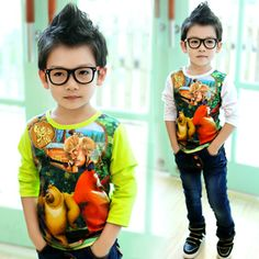 2013 autumn korean version of the new autumn childrens clothing baby boy bear haunt children long-sleeved t-shirt bottoming shirt 6744 only $10.32USD a Piece
