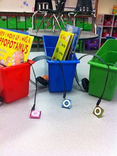 listening storage bins-Would be good for auditory bombardment or listening while working directly with another student.