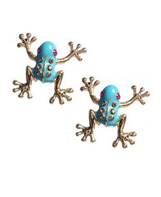 Betsey Johnson Earrings, Blue Frog Studs - Fashion Jewelry - Jewelry & Watches - Macy's