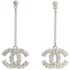 Preowned Chanel Pave Crystal Cc Drop Pierced Earrings (755 AUD) ❤ liked on Polyvore featuring jewelry, earrings, drop earrings, grey, pre owned jewelry, pave crystal earrings, chanel, crystal stone jewelry and preowned jewelry