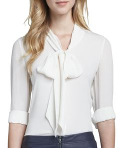 Alice + Olivia Arie Tie-Neck Blouse - Neiman Marcus  MINUS:  3/4 sleeves - need to be full length