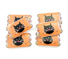 Cat Penny Rug Buttons. 6 Handmade Buttons.  by buttonsbyrobin, $13.99