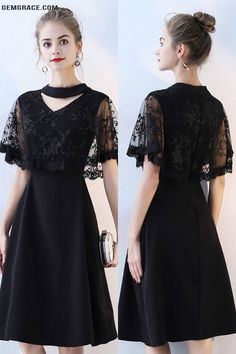 OFF, Homecoming Dresses Classy Lace Cape Sleeve Short Black Formal Dress at GemGrace. View more special Special Occasion Dresses,Homecoming Dresses,Cheap Homecoming Dresses,Short. Formal Dresses With Sleeves, Dresses Short, Trendy Dresses, Elegant Dresses, Casual Dresses, Dresses For Work, Unique Dresses, Beautiful Dresses, Dress Outfits