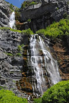Bridal Veil Falls, Provo Canyon, Utah ~ 607- foot tall, double cataract waterfall