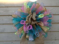 28 x 28 spring mesh wreath teal pink burlap & by OOPSYDAISYDESIGNS, $65.00