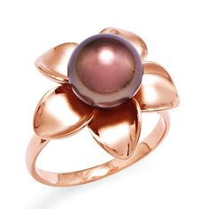 Chocolate Tahitian Pearl Ring in 14K Rose Gold (9-10mm)