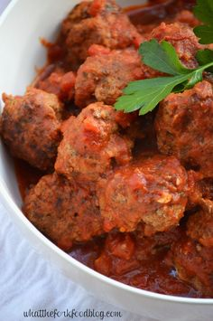 Braised Italian Meatballs by whatthefork #Meatballs #Italian