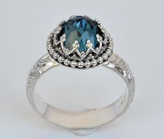 London Blue Topaz Ring in Sterling Silver, Faceted Blue Rose Cut Stone in Crown Heart Setting on Etsy, $81.01 CAD